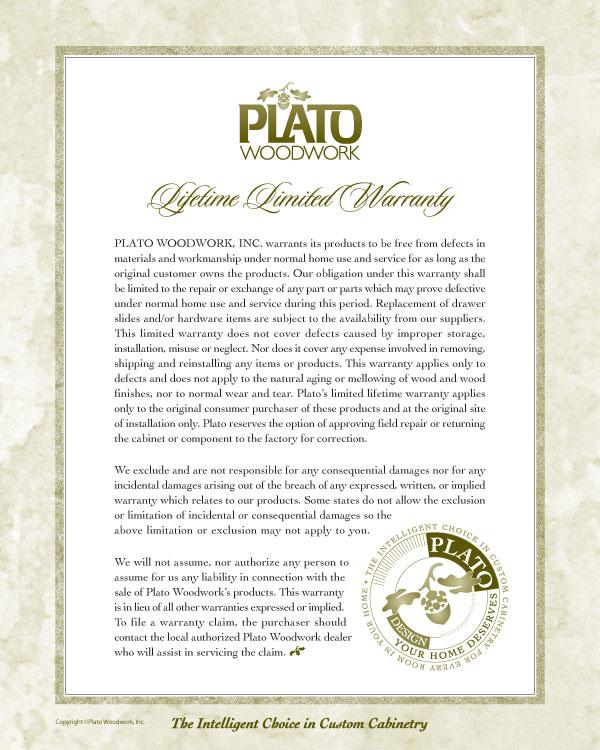 Plato Woodwork Custom Cabinetry Warranty